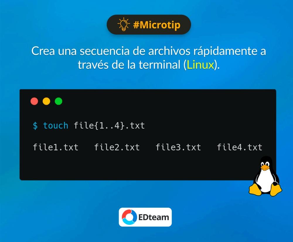#microtip Crear varios archivos en Linux