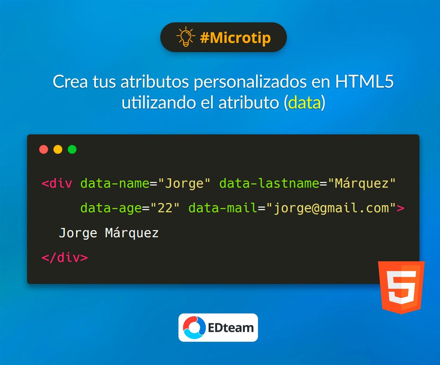 #Microtip: Atributos data en HTML