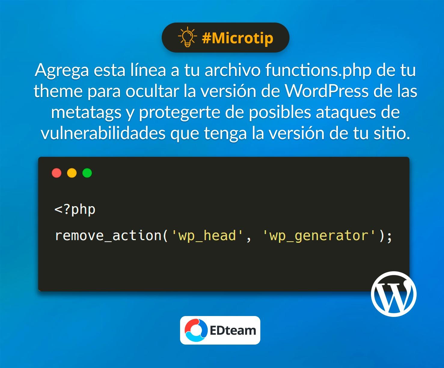 #Microtip: Elimina la versión de WordPress de tu sitio público