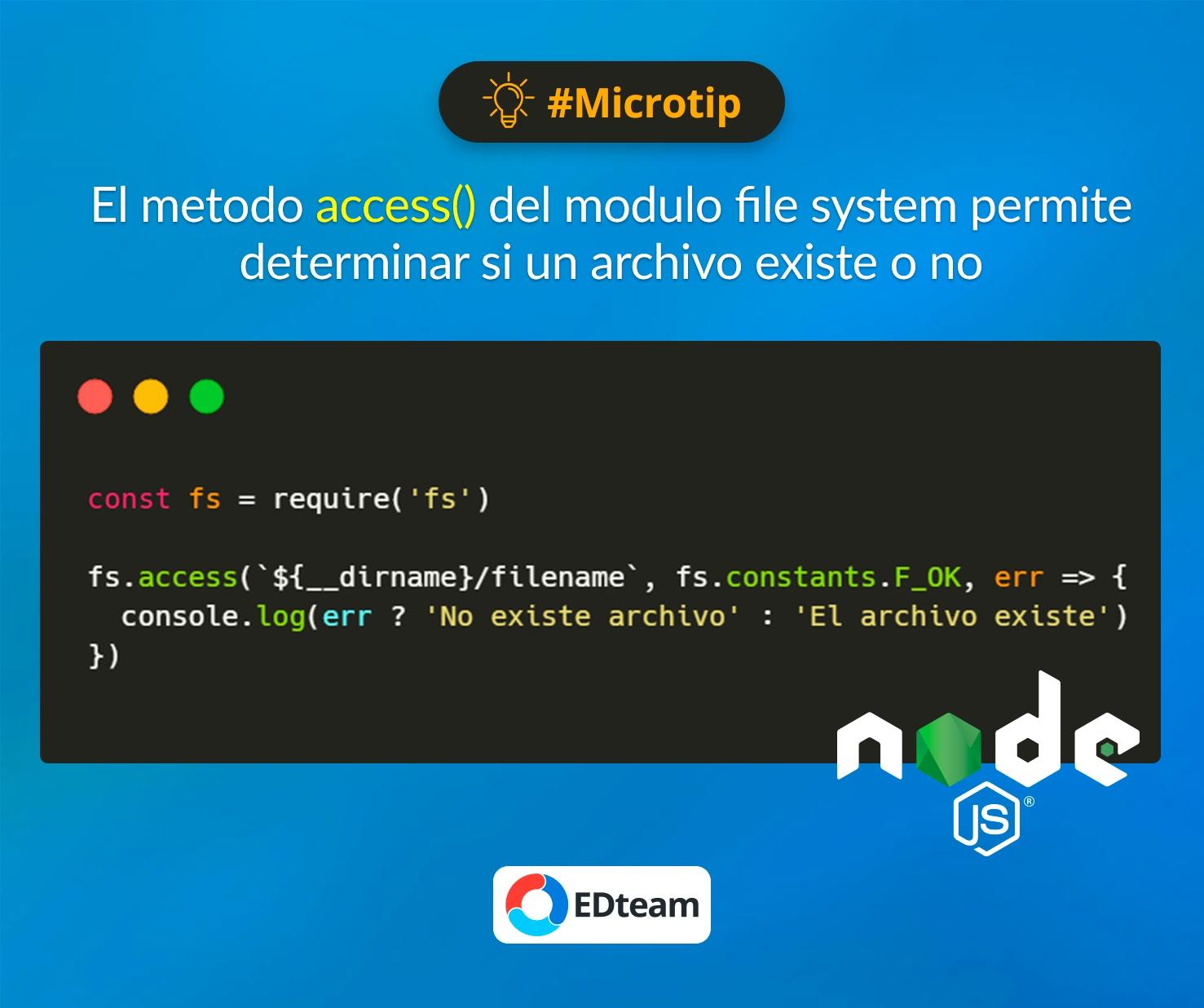 #Microtip: Metodo access Node.js