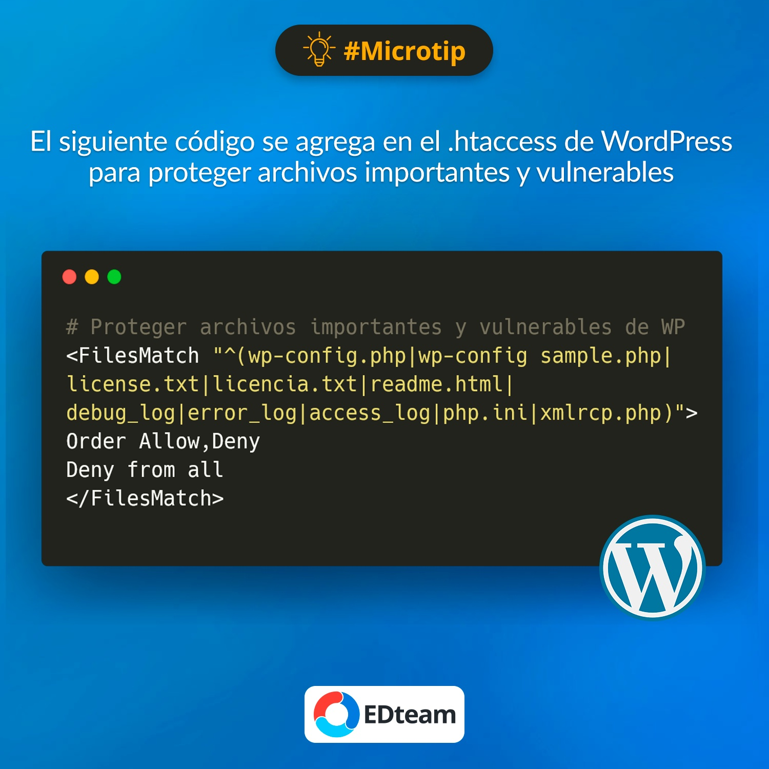#Microtip: Proteger archivos importantes y vulnerables de WordPress