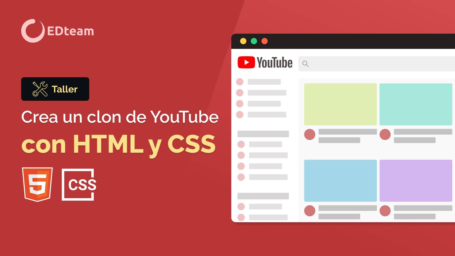 Crea un clon de YouTube con HTML y CSS